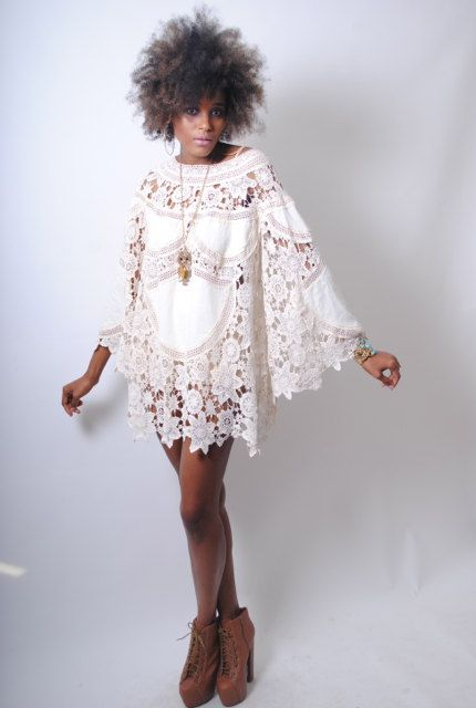 boho BELL SLEEVE 70s DRESS style ivory lace von 2DreamersBecome1, $350.00