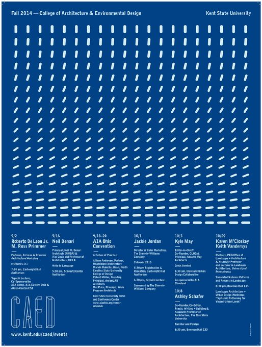 Get Lectured: Kent State University, Fall '14 | Fall 2014 lecture series at Kent State University, College of Architecture and Environmental Design. Poster Design: Jeffrey Waldman. Courtesy of Kent State University CAED | Archinect