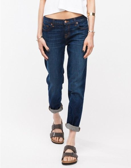 Washed Beau JBrand - I always wanted some boyfriend fit jeans. Those sandals are the worst, though.