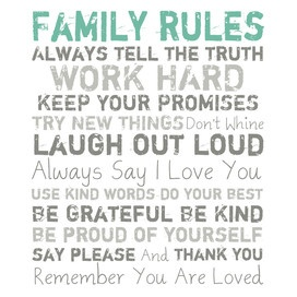Family Rules Canvas l family room