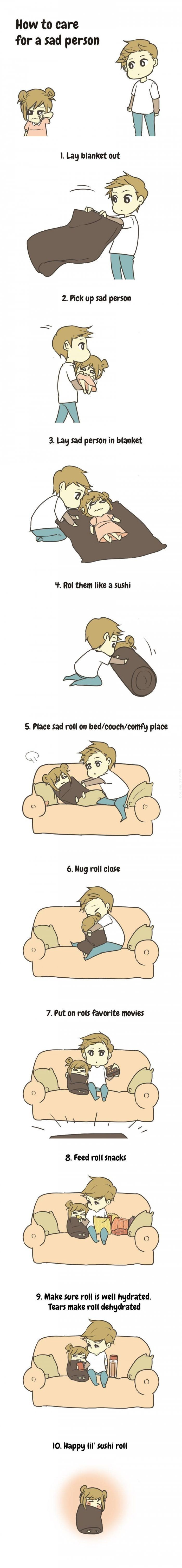 How to look after a tragic individual ♥ http://lolsalot.com/funny-pics/how-to-care-for-a-sad-person-%e2%99%a5/ #Funny #Pic