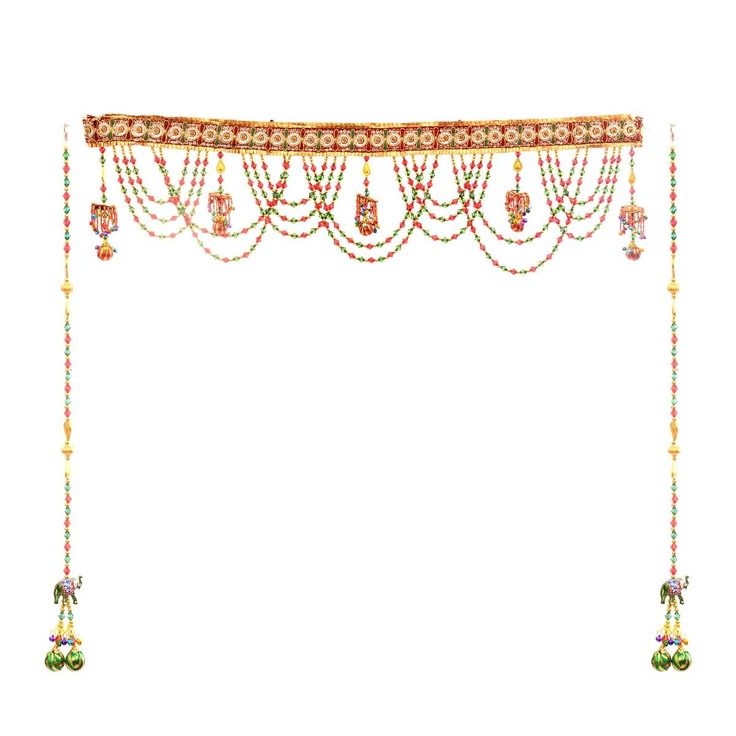 Multi-color Toran set Toran: a handcrafted decorative door hanging, used to adorn the main entrance door - a sign of prosperity. Torans' have traditionally adorned Indian homes to welcome guests with good wishes and blessings as they enter a household. Toran with one pair of strings Dimensions: W: 36 inches, H: 7 inches and Strings H: 26 inches Material: Metal and beads Color: Multi-colored Inspiration: Door decoratives from Jaipur