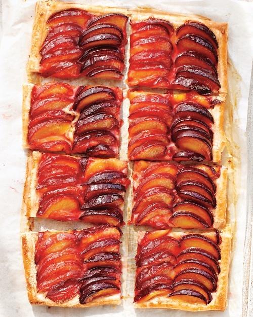 plum tart.: Desserts, Martha Stewart Recipes, Plum Tarts, Frozen Puff, Puff Pastries, Create Stripes, Alternative Black, Stripes Plum, Tarts Recipes