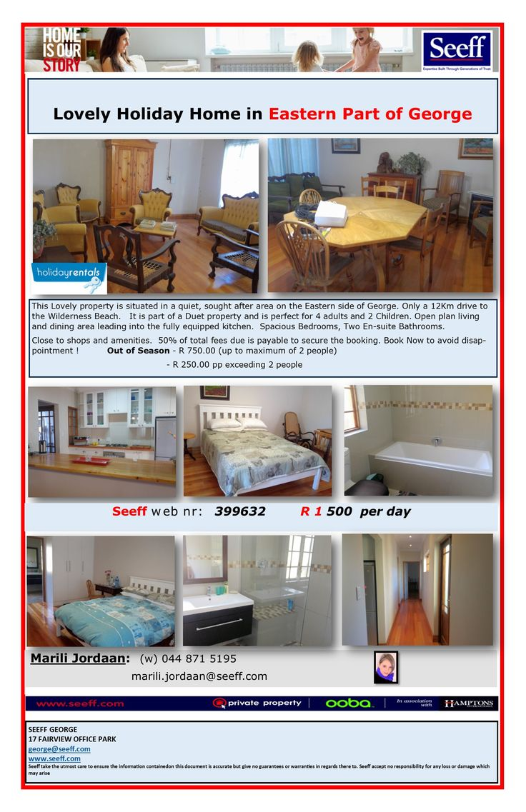 #seeff #holiday #rentals #georgeeast #george #gardenroute #westerncape  Lovely Holiday Home in Eastern Part of George http://www.seeff.com/Details?webref=399632