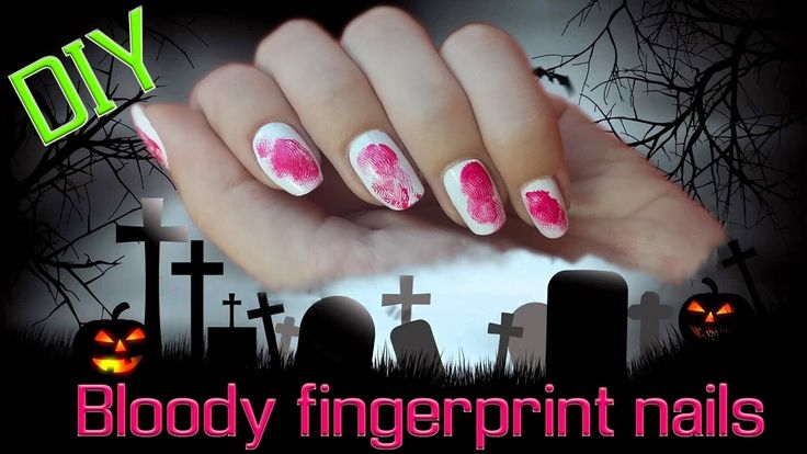 How to make easy Halloween bloody fingerprint nails tutorial:  https://www.youtube.com/watch?v=CYDWz5VDFB0  Follow our YouTube channel - Nikol & Alexandra  #Halloween #nails #nailart #fingerprint #blood #bloody #diy #tutorial #diynikolalexis #scary #ghost #youtube