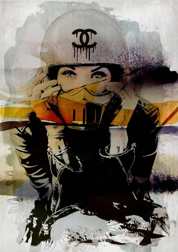 Motorbike woman -Collage, Harley Davidson , lady, chanel, freedom, giclee, classic, decor, print , poster , inside design, elegant