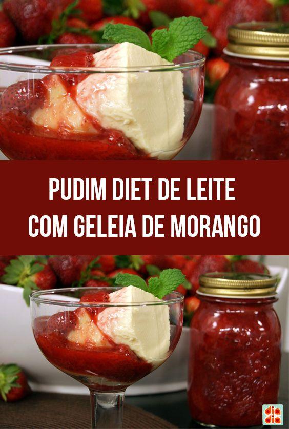 Pudim diet de Leite com Geleia de Morango