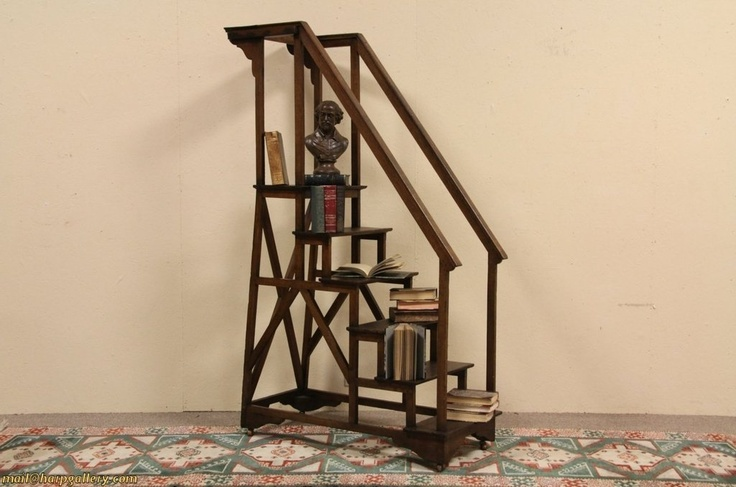 Oak Antique 1880 Library Steps Or Stairs