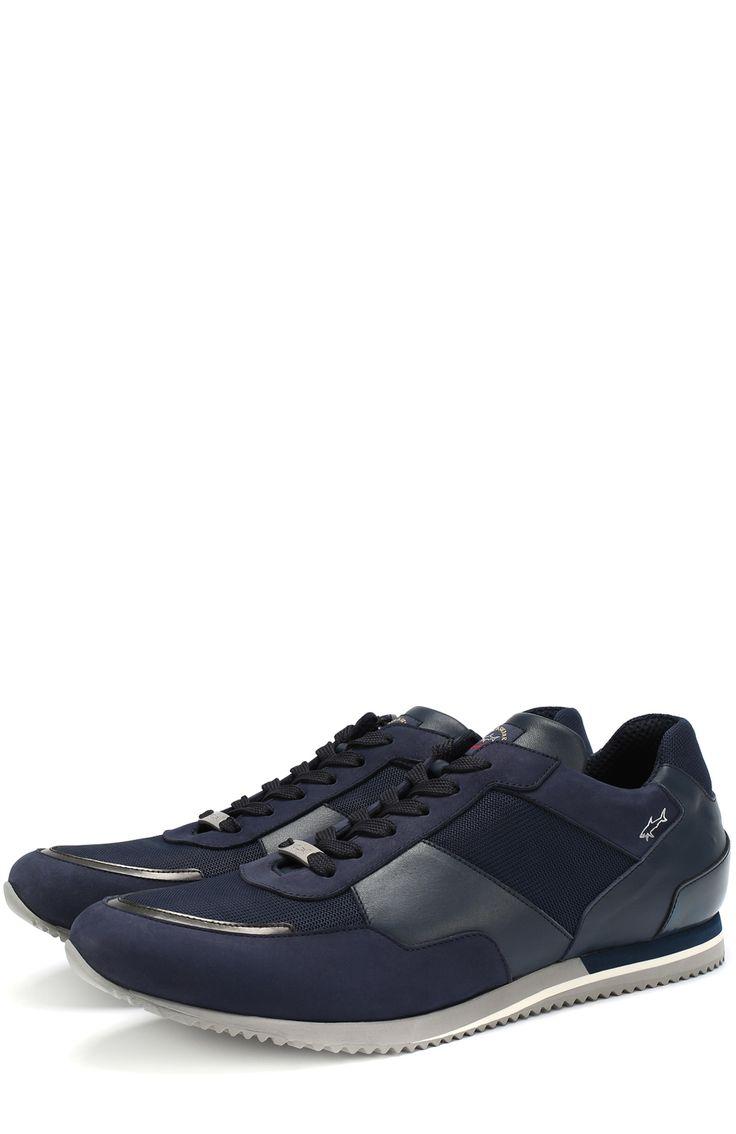 Мужские темно-синие кожаные кроссовки на шнуровке в текстильными вставками Paul&Shark, сезон SS 2017, арт. E17P8033 купить в ЦУМ | Фото №1
