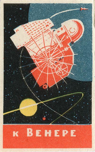 Space race - russian matchbox label via Jane McDevitt aka maraid on Flickr