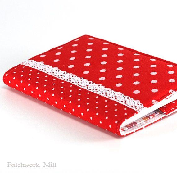 Fabric Journal Cover - Red Polka Dots - Fabric Cover A6 Notebook, Diary - Red and White Lace, Retro 50's Book Cover, Fabric Journal by PatchworkMill