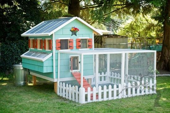 aqua chicken coop with shutters and run. Completely impractical of course, but pretty.