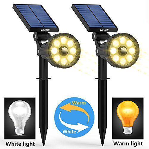 Solar Lights Outdoor Upgraded Motion Sensor with 8 White and 8Warm LED Solar Spotlight Adjust Wall Light Landscape Security Lighting Auto On/Off for Patio Yard Garden Driveway Pathway Pool Area(Pack2).