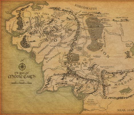 Middle Earth Map fabric by walkingraven1 on Spoonflower - custom fabric