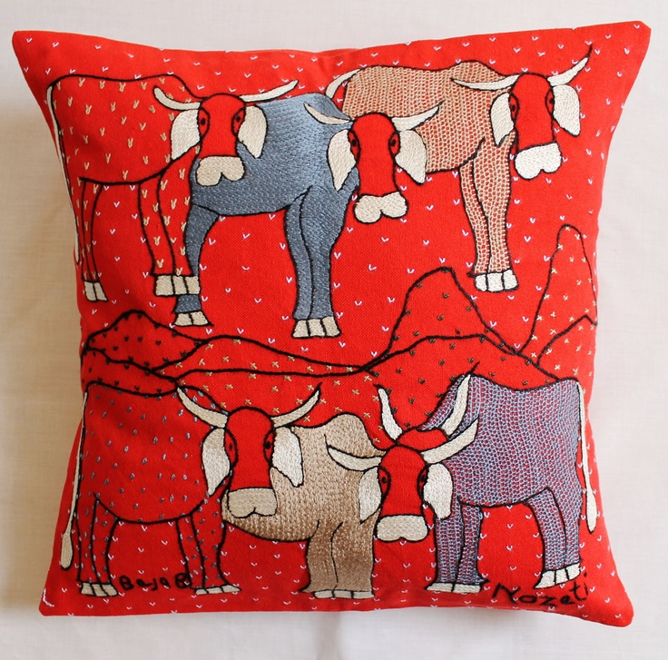#handmade #fair-trade #African embroidered cushions. Just lovely!