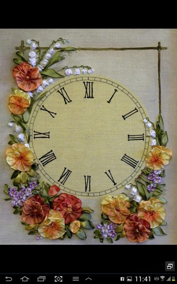 bordado con cinta. reloj pared