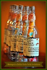 Pirate Party Invitations - Message in a Bottle