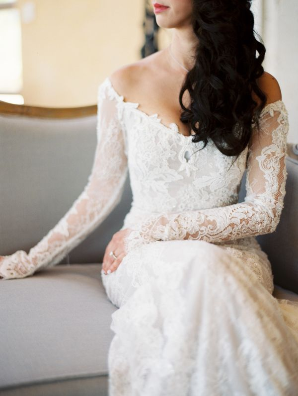 Off-the-shoulder long lace sleeve wedding gown: http://www.stylemepretty.com/2016/11/04/biggest-wedding-trends-of-2016/ Photography: Kurt Boomer - http://www.kurtboomer.com/