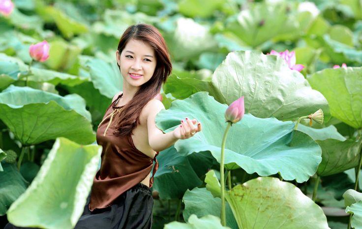 hình nền Thiếu nữ bên hoa sen tuyệt đẹp, hình nền HD
