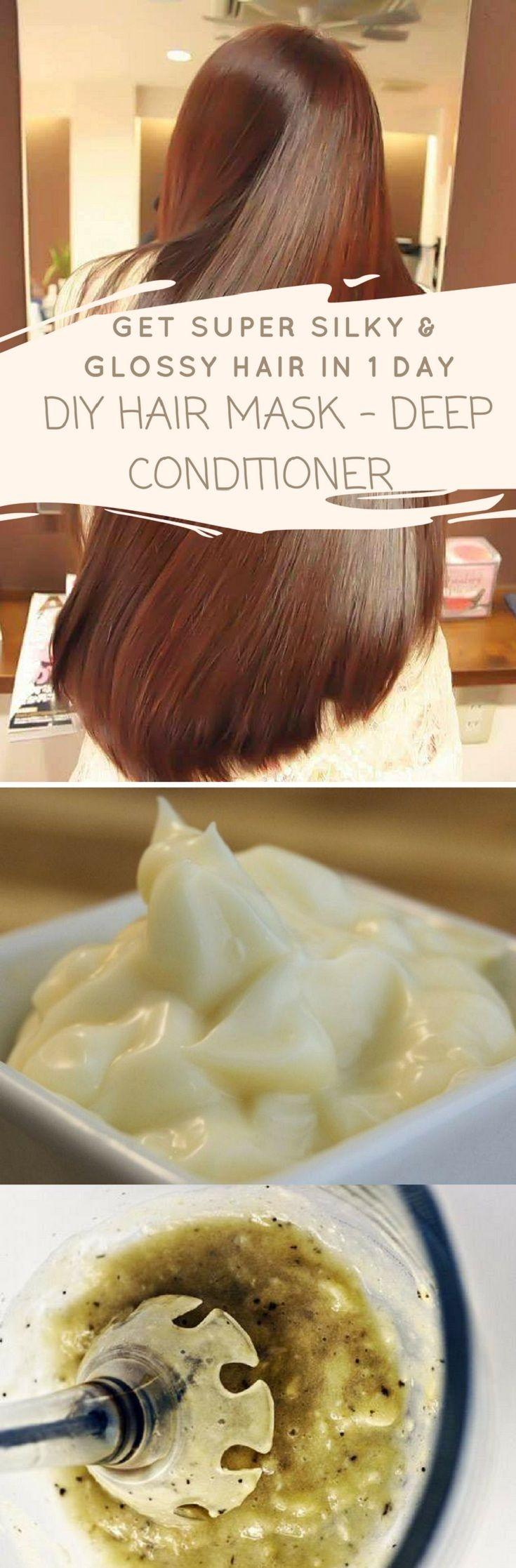 Get super silky & glossy hair in 1 day | DIY Hair Mask – Deep Conditioner #silky #glossy #hair #diy #mask #conditioner #health