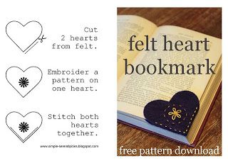 Isn't this the cutest thing? Probably the easiest as well! All you do is cut out two felt hearts, sew them together and you have a bookma...