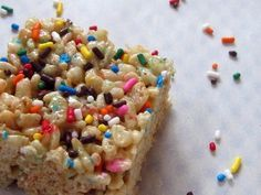 Cake batter rice krispie treats-- I prefer either 1/2 c. to 3/4 c. of the cake batter mix but so simple and good