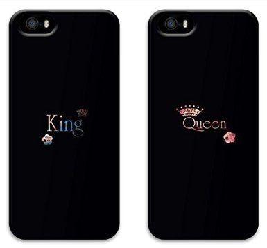 Two Pieces King and Queen Black Boyfriend and Girlfriend Couples Matching Cell Phone Cases for Iphone 5 5s Case - Christmas Gift: Amazon.co.uk: Electronics