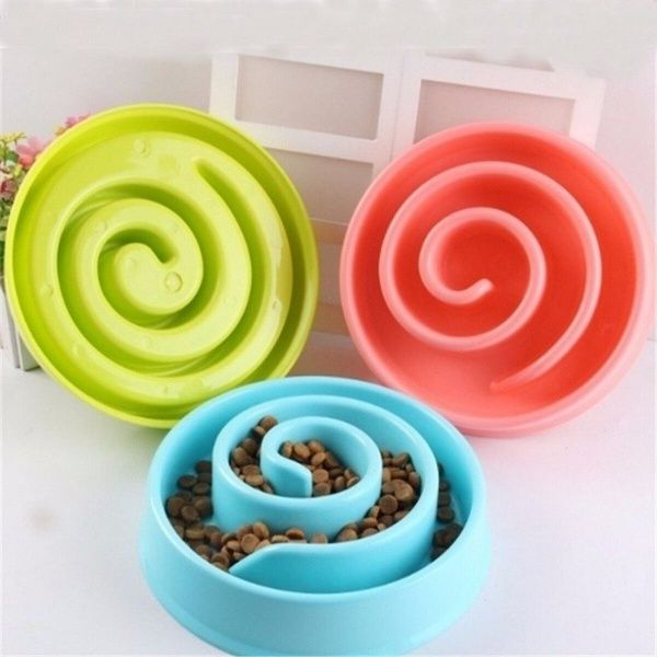 Dog Bowl Plastic Interactive Slow Food Anti Gulping Bloat Dishes