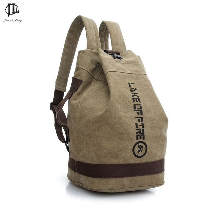 16.68$  Buy now - http://alih9n.shopchina.info/go.php?t=32369289144 - *#Male Fashion Casual Canvas Backpack Middle School Students Book Bags Travel  Large Capacity Backpack Man Bucket Bag 16.68$ #buymethat