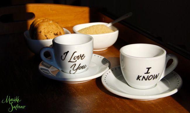 Tazzine da caffè | #coffee #cups #calligraphy | I Love You - I Know