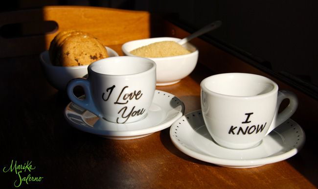 Tazzine da caffè | #coffee #cups #calligraphy | I Love You - I Know