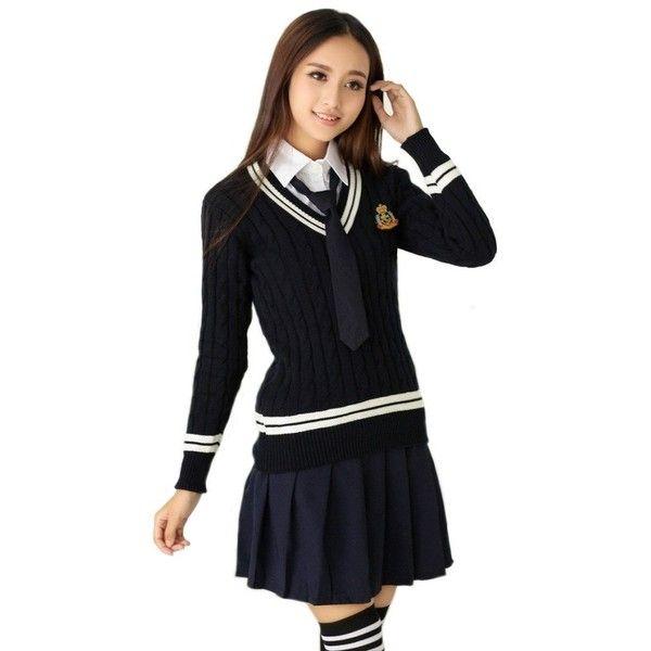 Nuoqi British School Uniform Suits V,neck Sweater Pleated Skirt ($16