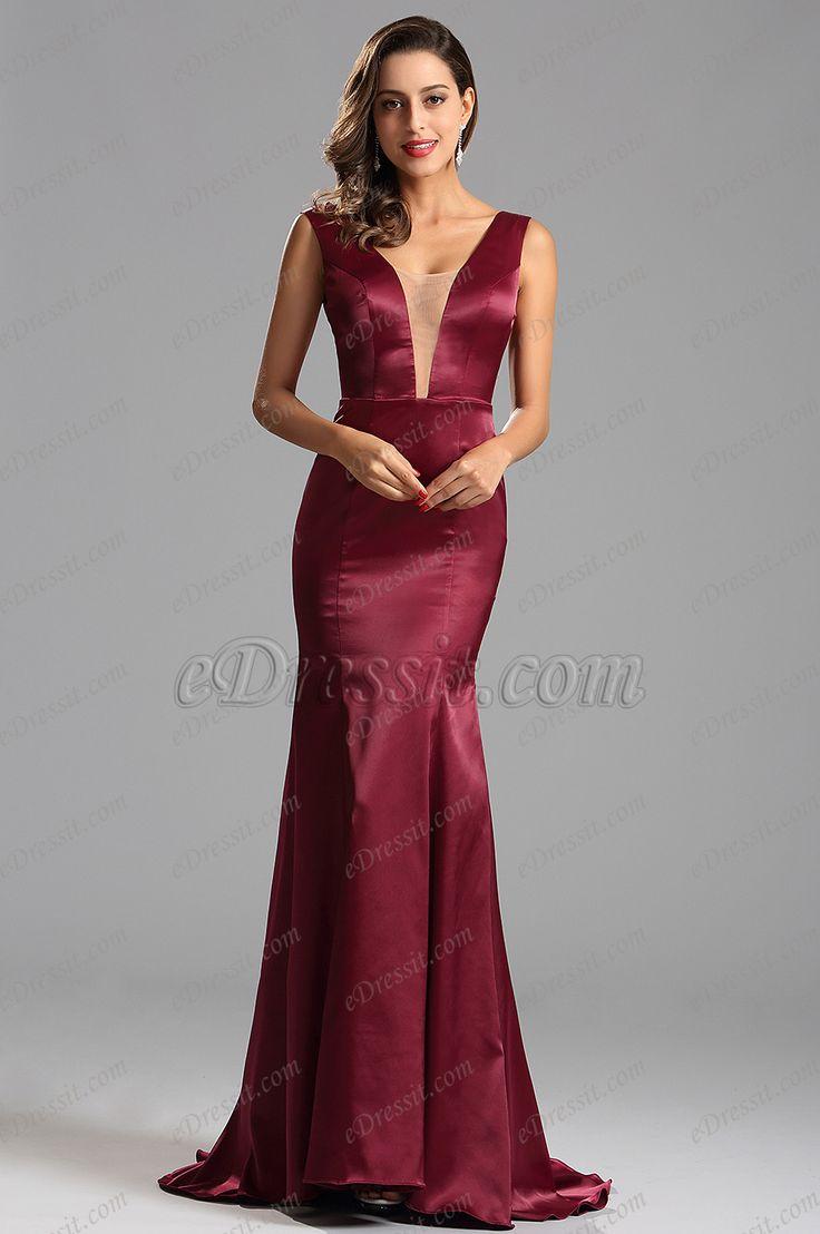 Sexy Tiefer Ausschnitt Bordeaux Formal Kleid Abendkleid (X00160817)
