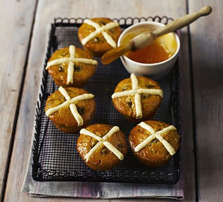 These cakes have all the fruit and spice of the traditional bun but are quicker to make.Finish with spiced cream cheese frosting crosses