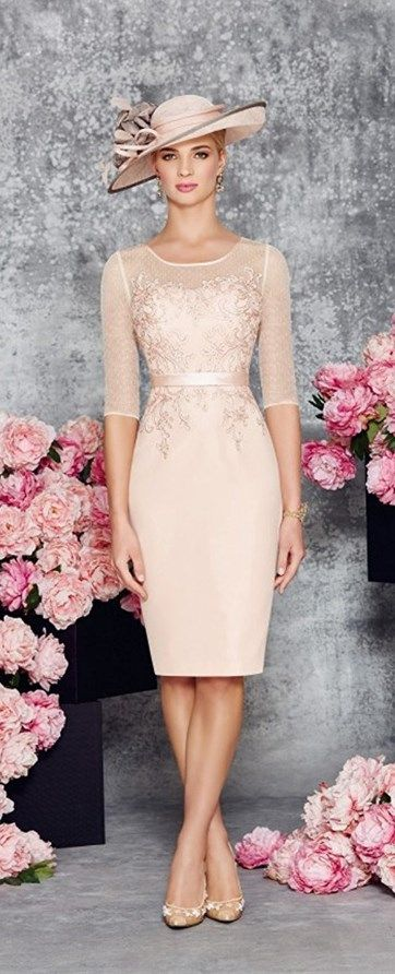 This Elegant Round Collar Light Pink Mid Long Bridal Mother of the Bride Dress is fitted and has astonishing detailing throughout. An absolutely stunning embellished dress and matching jacket in Blush/Ivory. You'll get a superb matching frock coat made from chiffon with mid-length sleeves with this mother of the groom dress (or bridesmaids dress, prom dress). || More at http://www.cutedresses.co/product/round-collar-light-pink-mother-bride-dress/