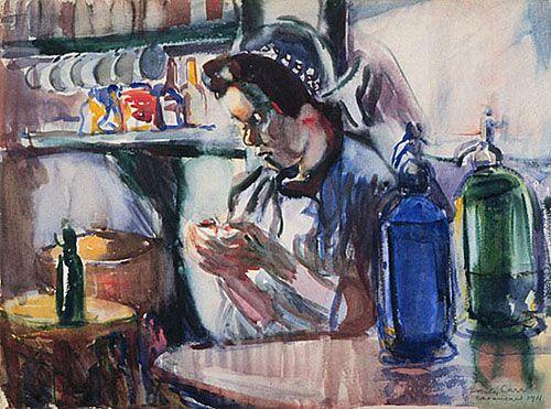 French Girl and Siphons, 1911, aquarelle et fusain sur papier - Emily Carr