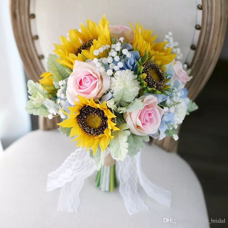 New Yellow Blue Bridal Bouquets Sunflower Rose Hydrangea Baby's Breath Artificial Bridal Hand Holding Wedding Decoration Artificial Flowers Bride Holding Brooch Bouquet Mori Bride Bouquet Artificial Wedding Bouquet Online with $100.58/Piece on Sarah_bridal's Store | DHgate.com