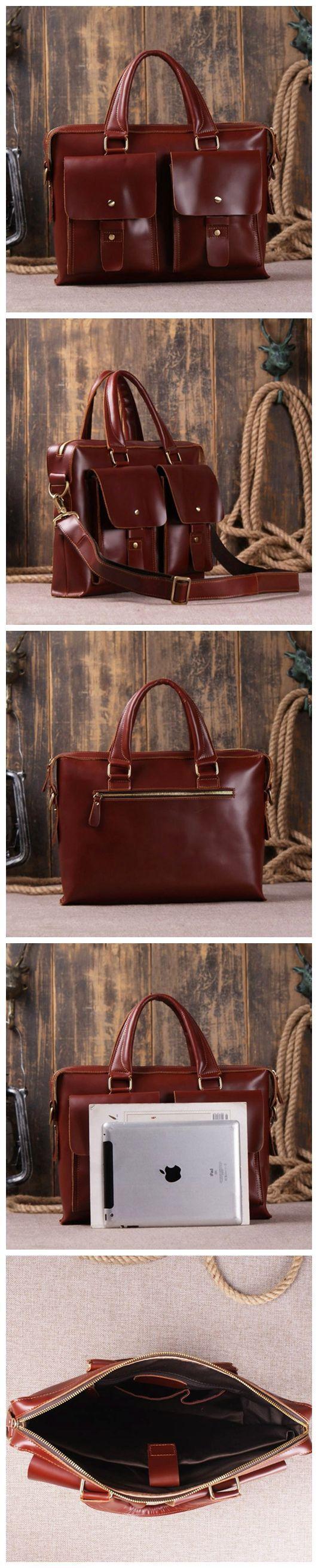 Genuine Leather Briefcase, Messenger Bag, Laptop Bag