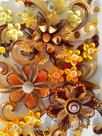 Painting mural drawing March 8 Paper Quilling floral arrangement band Beads Photo 2