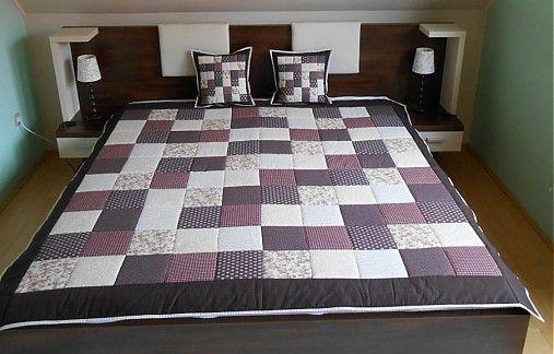svadobný dar patchwork deka 140x200 alebo 220x220 čokoladovo bežová