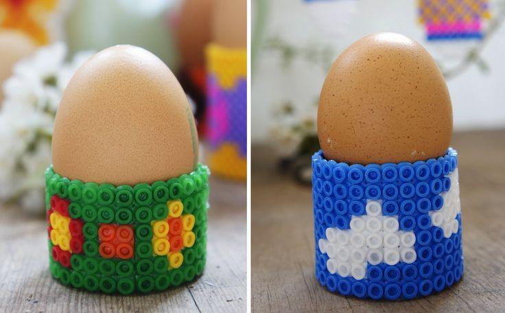 DIY Eierbecher aus Bügelperlen basteln - Handmade Kultur