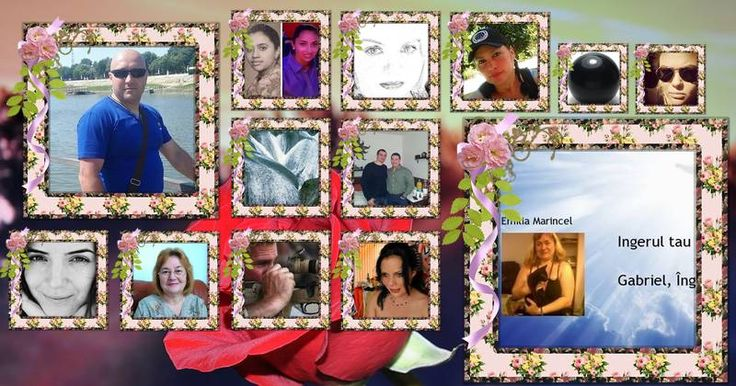 Colaj fotografie frumoasă cu flori și 12 prieteni. Creați a ta