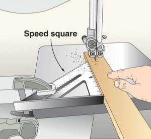 Great tip - use a speed square as a fence on your band saw!