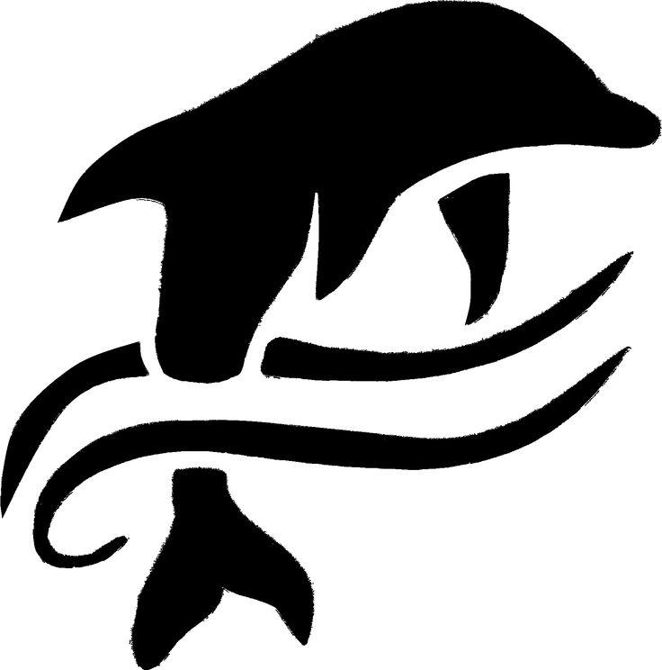 Stencil Dolphin on Wave