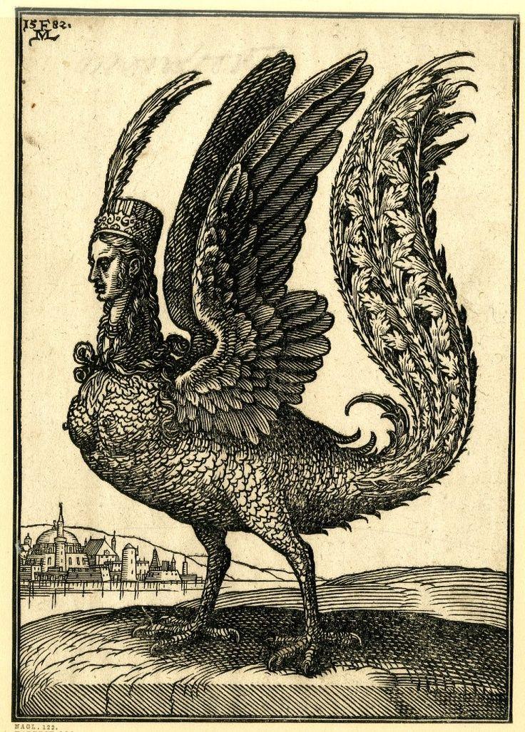 A harpy; facing left; bird-like creature with a long tail and human head,by Melchior Lorck,c. 1582 Melchior Lorck tarafından yapılmış nefis bir efsanevi HÜMA KUŞU tasviri..Başlığı dönemin modasını yansıtıyor, önüde uzun bir sorguç var.. Saçlar Türk usulü uzun örgülü belikli ve önden düğümlenmiş.15-16. yüzyıllar..