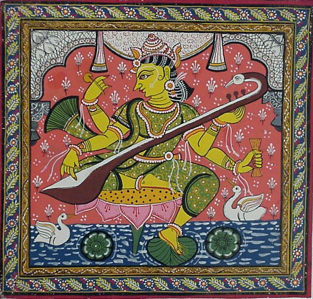 Colourful patachitra image of Goddess Saraswathi