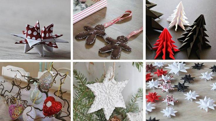 Fra venstre: Papirstjerne, pepperkakemenn i filt, papirjuletrær, julepynt med paljetter og perler, leirestjerne og papirstjerner.