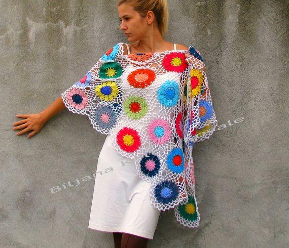 Fondo de chal blanco accesorios coloridos Crochet mujer por kovale