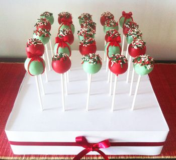 Christmas Cake Pops in Stand