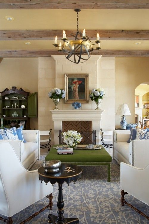 Very lovely room- I just can't figure out the green ottoman/bench where everything else is blue. Ponte Vedra Beach, FL, living room. Slifer Designs.: Future Houses, Fireplaces Mantles, Green Living Rooms, Decor Ideas, Dreams Rooms, Vedra Beaches, Slifer Design, Pont Vedra, Georgiana Design